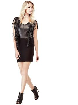 SLIM DRESS WITH FRINGES BLACK