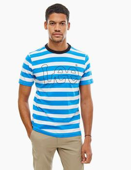 STRIPE TEE REGULAR FIT DIPPED BLUE