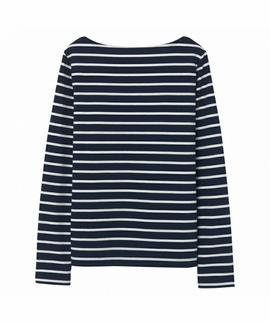 BRETON STRIPE BOATNECK JUMPER EVENING BLUE