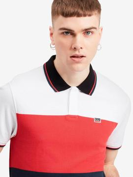 SPORTSWEAR POLO W TIPPIN WHITE / RED / NAVY