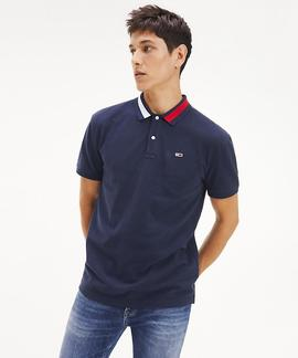 TJM FLAG NECK POLO BLACK IRIS