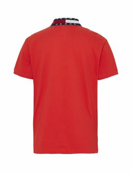 TJM FLAG NECK POLO FLAME SCARLET