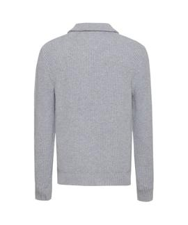 TJM ZIP MOCK NECK LT GREY HTR