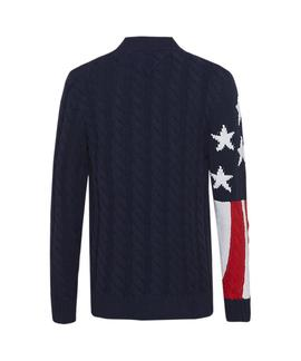 TJM AMERICANA FLAG SWEATER BLACK IRIS / MULTI