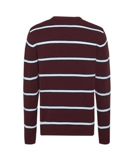 TJM FINE STRIPE SWEATER REGULAR FIT BURGUNDY
