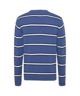 TJM FINE STRIPE SWEATER DUCH BLUE