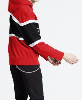PIECED HOODIE RACER COLORBLOCK BRILLIANT RED