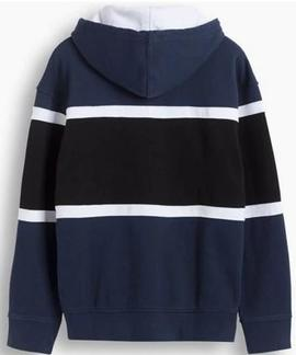 PIECED HOODIE RACER COLORBLOCK DRESS BLUES