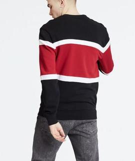 PIECED CREWNECK SWEATSHIRT JERSEY BLACK
