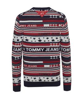TJM AMERICANA STRIPE SWEATER FLAME SCARLET / MULTI
