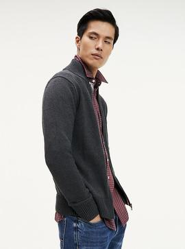 CHUNKY COTTON ZIP THROUGH CHARCOAL HEATHER