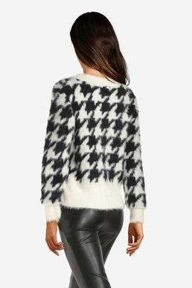 LS RN ISA SWEATER PIED DE POUL BLACK - WHITE