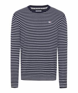 TJM ESSENTIAL STRIPE SWEATER BLACK IRIS / WHITE