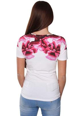 SS VN FLOWER TEE TRUE WHITE / PINK
