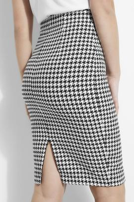 BRIDGET SKIRT PIED DE POUL BLACK - WHITE