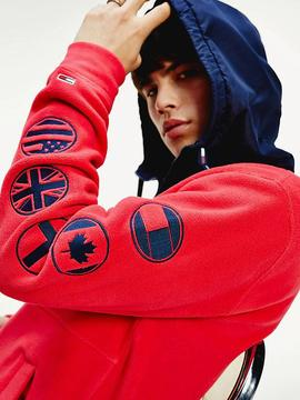 TJM TOMMY LOGO ZIP HOODIE RACING RED / BLACK IRIS