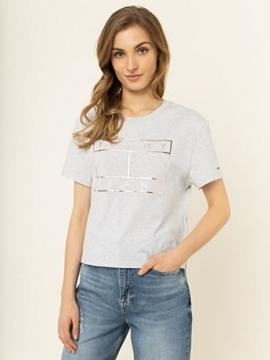 TJW OUTLINE FLAG TEE PALE GREY HEATHER