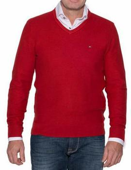 MOULINE COTTON STRUCTURE V-NK RED