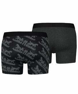 LEVIS MEN 2 HORSE PULL AOP BOXER BRIEF 2 PACK BLACK
