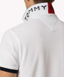 TOMMY JACQUARD SLIM POLO S/S SF OPTICAL WHITE