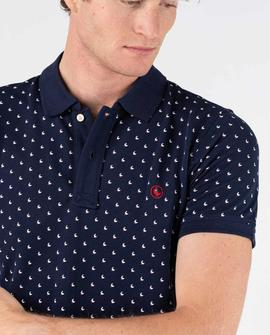 POLO PIQUE SHORT SLEEVE MICROPRINT NAVY