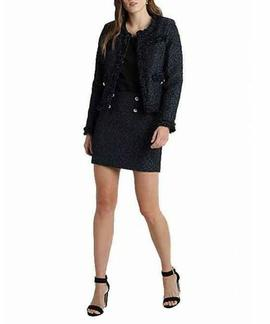 ELISA JACKET TWEED BLACK/BLUE COM