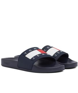 CHANCLAS TOMMY JEANS FLAG POOL SLIDE BLACK IRIS