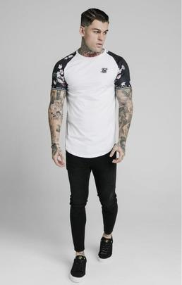 PRESTIGE FLORAL INSET TECH TEE WHITE