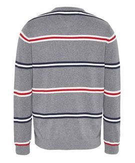 TJM STRUCTURED STRIPE SWEATER DARK GREY HEATHER