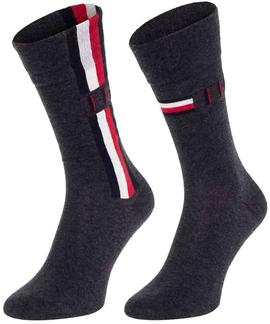 TH MEN SOCK 2 PACK ICONIC STRIPE CLASSIC MIDDLE GREY MELANGE