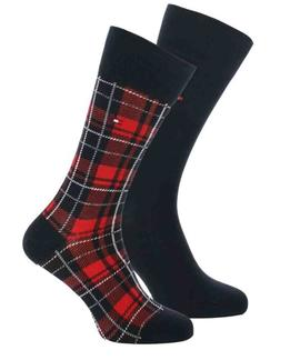 TH MEN SOCK 2 PACK TARTAN NAVY / RED