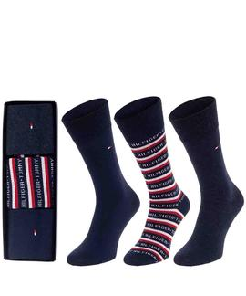TH MEN SOCK 3 PACK LOGO GIFTBOX DARK NAVY