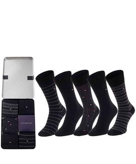 TH MEN SOCK 5 PACK FINE STRIPE BLACK