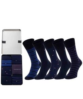 TH MEN SOCK 5 PACK FINE STRIPE DARK NAVY