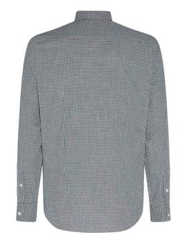 SLIM DOBBY HOUNDSTOOTH SHIRT CARBON NAVY / WHITE