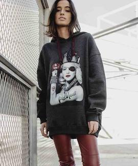 SUDADERA UNISEX MADONNA REBEL HEARTH GRIS