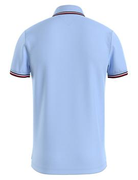 TOMMY TIPPED SLIM POLO SWEET BLUE