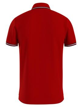 TOMMY TIPPED SLIM POLO PRIMARY RED