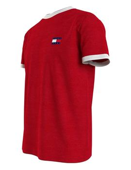 TJM BADGE RINGER TEE DEEP CRIMSON / WHITE