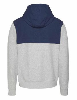 TJM CONTRAST ZIP HOODIE LIGHT GREY HTR / TWILIGHT NAVY