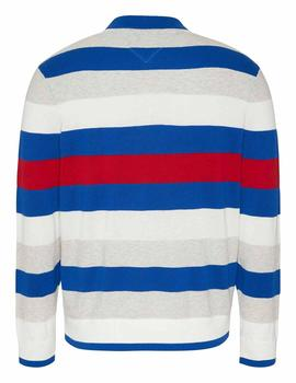 TJM SMALL TEXT STRIPE SWEATER COBALT / MULTI