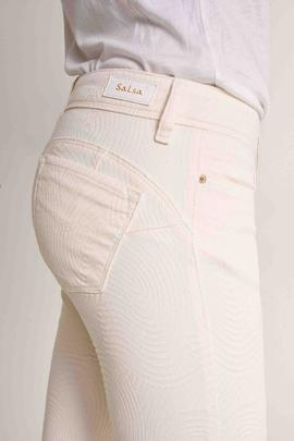 WONDER CAPRI PUSH UP SKINNY FIT EN DENIM BEIGE CON JACQUARD