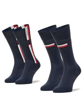 TH MEN SOCK 2 PACK ICONIC STRIPE CLASSIC NAVY