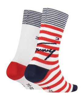 TH KIDS SOCK 2 PACK STRIPE WITH MESH TOMMY ORIG.