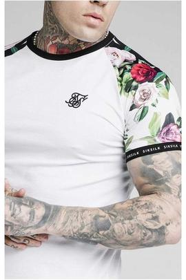 FLORAL PIXEL INSERT TECH TEE WHITE