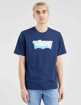 RELAXED FIT TEE BATWING CLOUDS NAVY