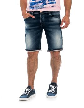BERMUDA VAQUERA LOOSE FIT MEDIUM WASH EN DENIM AZU