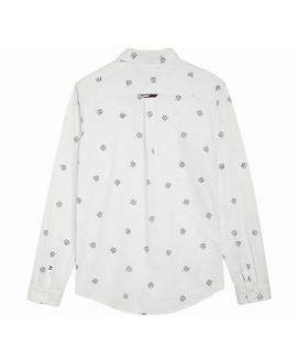 TJM TOMMY PRINT SHIRT REGULAR FIT CLASSIC WHITE