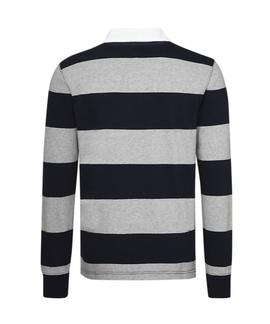 ICONIC BLOCK STRIPE RUGBY REGULAR FIT SKY CAPTAIN