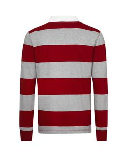ICONIC BLOCK STRIPE RUGBY REGULAR FIT RUBARB